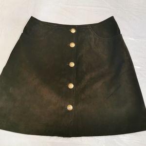 Danier Olive Green Suede Skirt Size 10